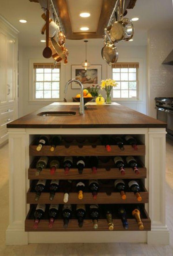 Weinregal für küche  Küchenblock freistehend - mehr Arbeitsfläche und Stauraum in der ...