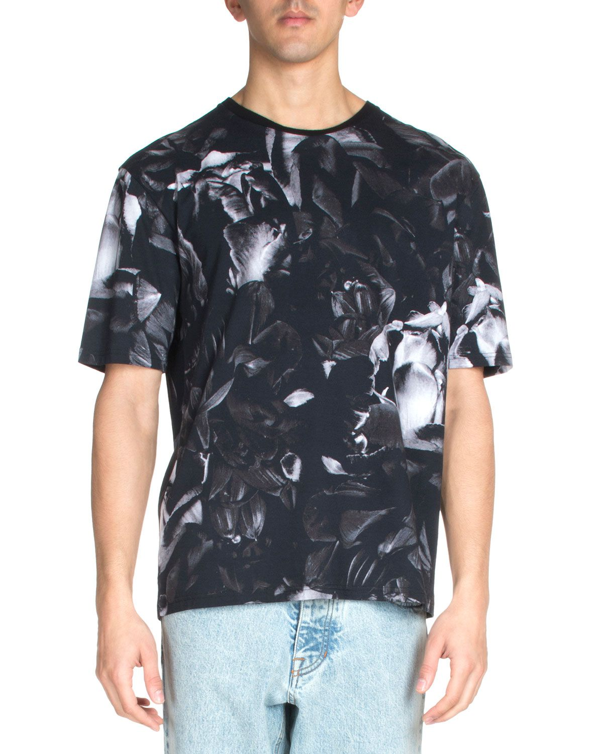 Floral-Print Short-Sleeve Tee, Black, Men's, Size: X-LARGE - Ami