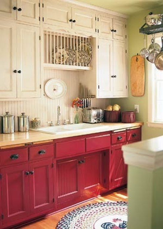 Las cocinas rojas Kitchens, Shabby and 50s kitchen