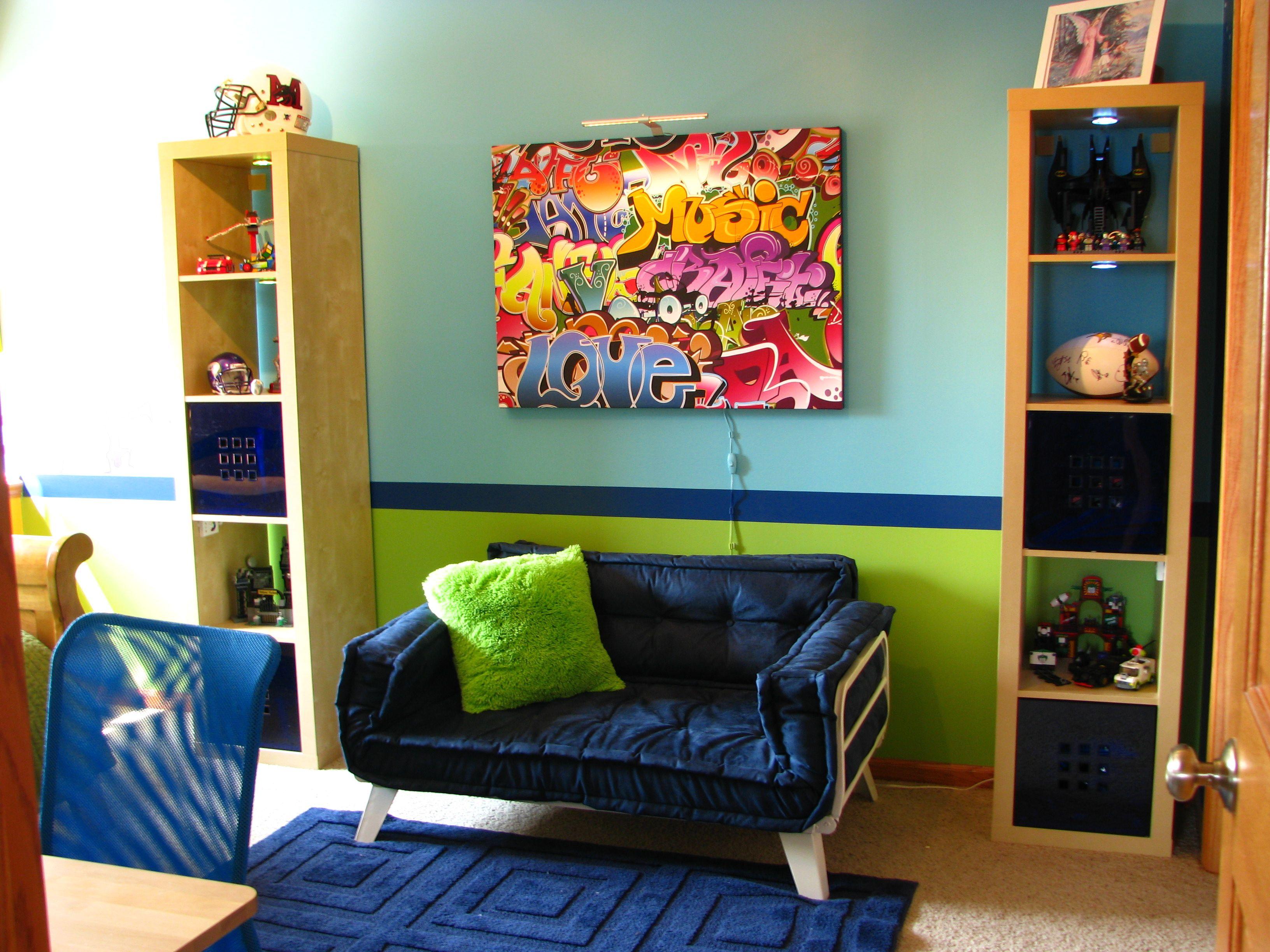 Hip Hop Boys Bedroom Pre Teen Navy Aqua Orange