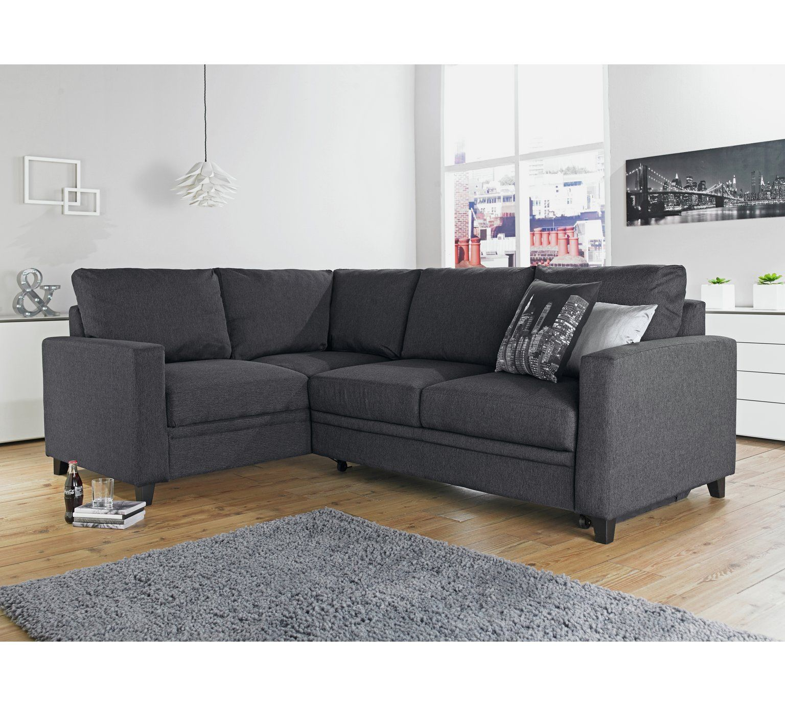 Buy Corner Sofa Bed Uk Buy Hygena Seattle Fabric Right Hand Corner Sofa Bed Charcoal At