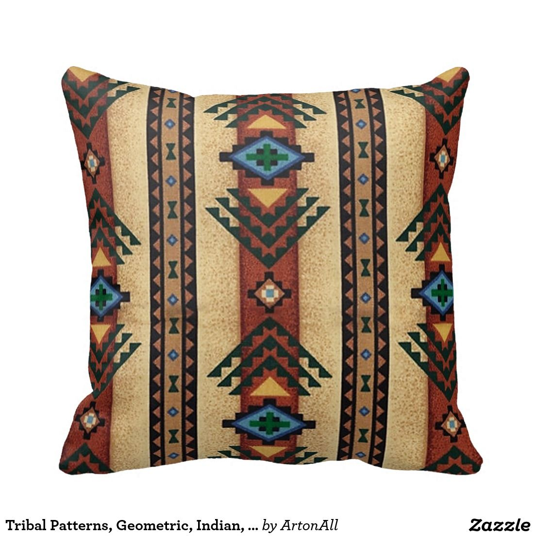 Tribal Patterns Geometric Indian Native Wester Throw Pillows
