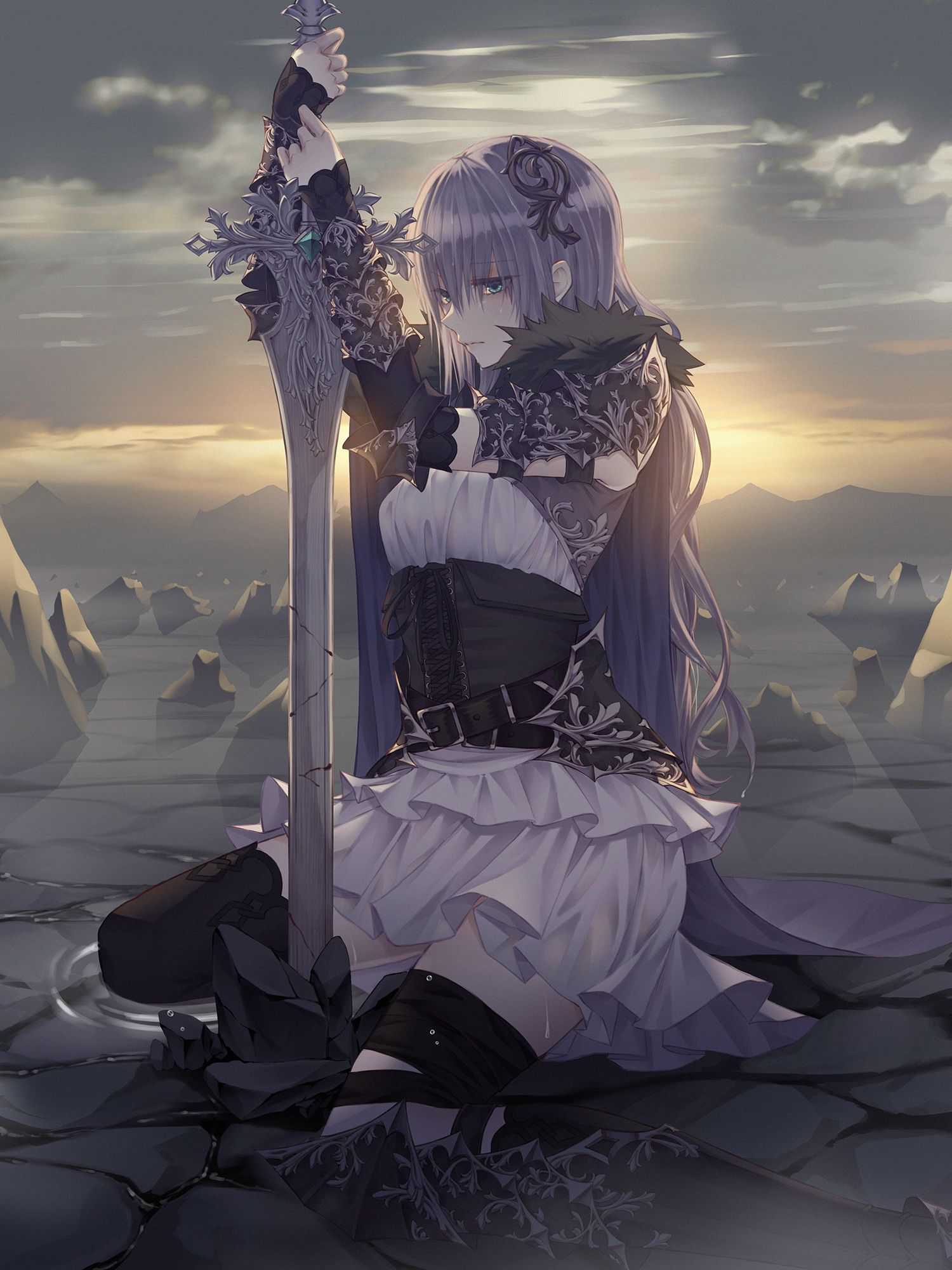 Anime Girl With Sword And Silver Hair 5933 Loadtve