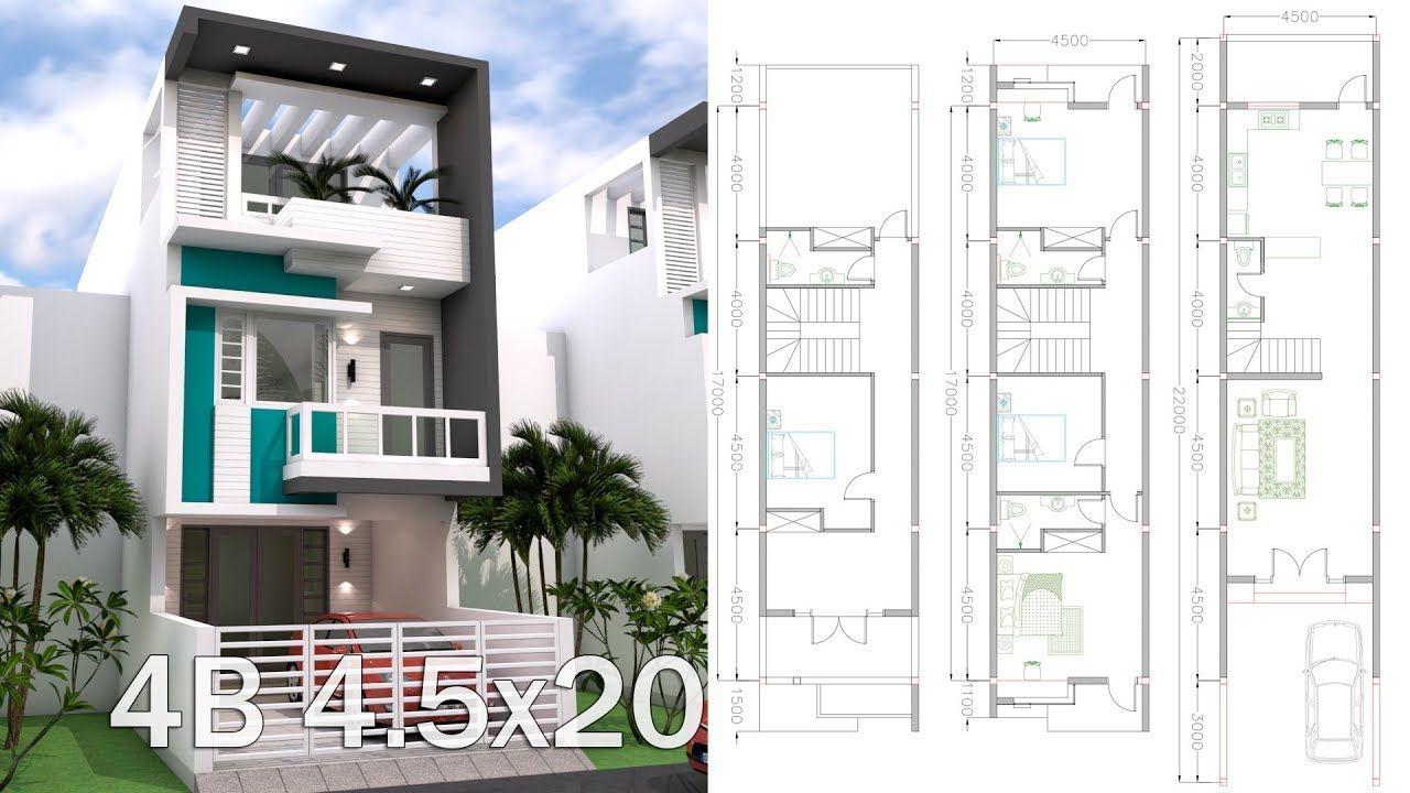 Sketchup 3 Story Narrow Home Plan 4 5x20m Narrow House Plans Narrow Lot House Plans Courtyard House Plans