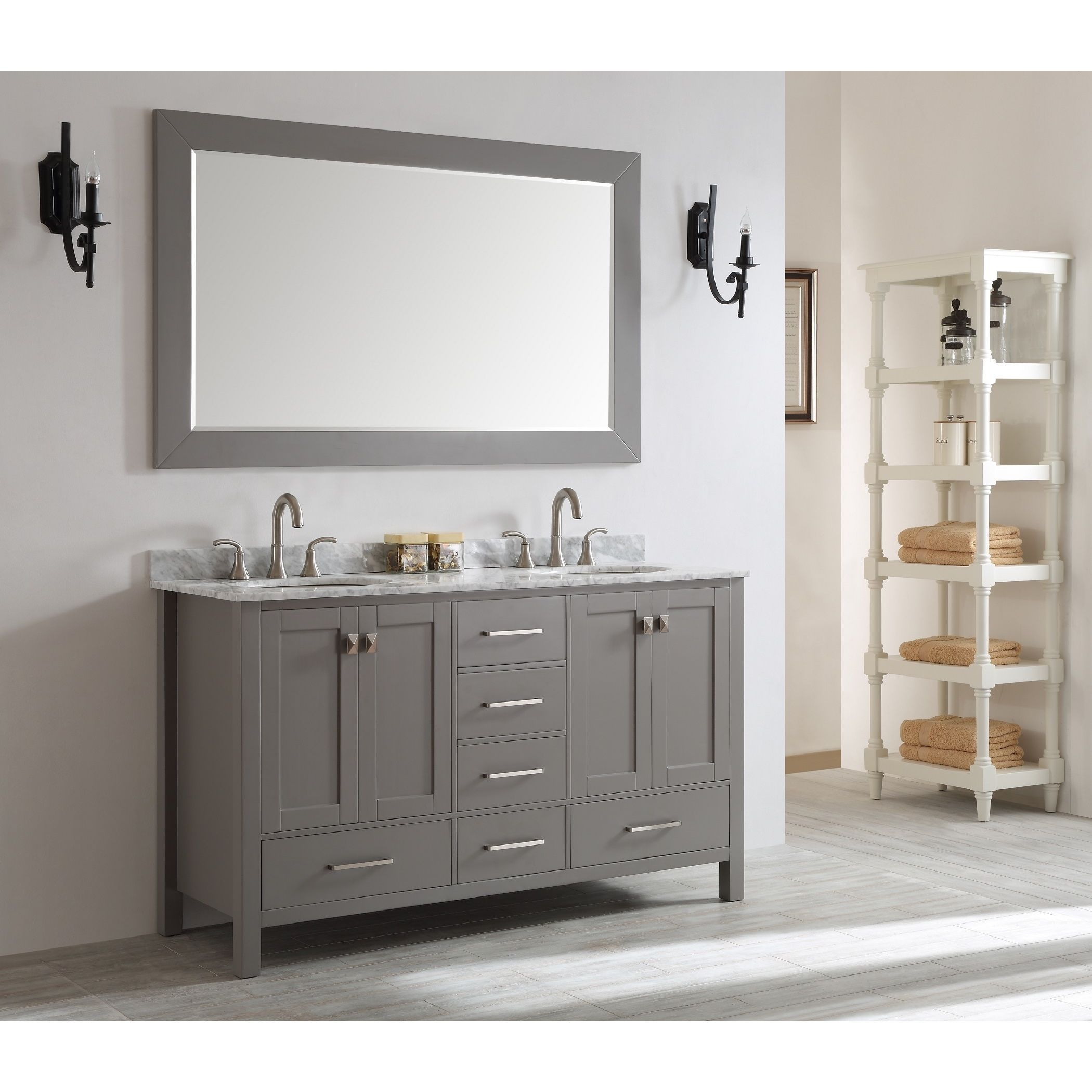 Eviva Aberdeen 60 Inch Transitional Grey Bathroom Vanity With White Carrera  Countertop And Double Square Sinks (Eviva Aberdeen 60 Grey Bathroom Vanity),  ...
