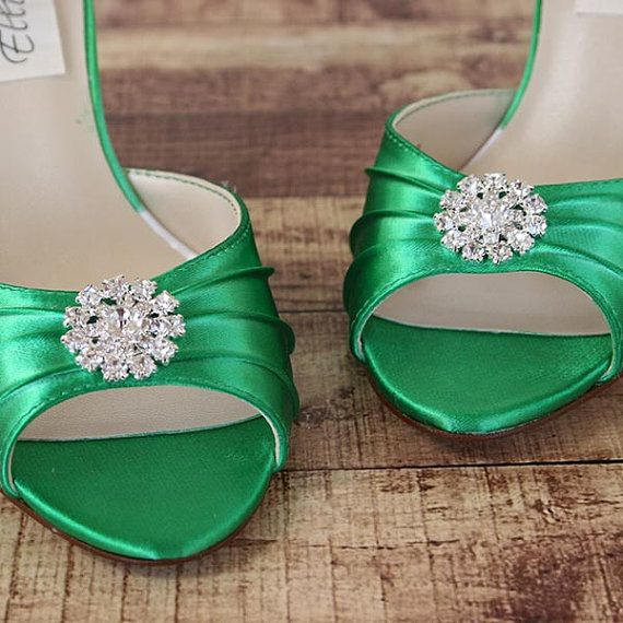 faa4d961b3e Wedding Shoes -- Green Kitten Heel Peep Toe Wedding Shoes with Simple  Rhinestone Adornment