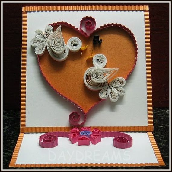 Quilled valentine card with  pair also   day craft projects and ideas paper strips rh za pinterest