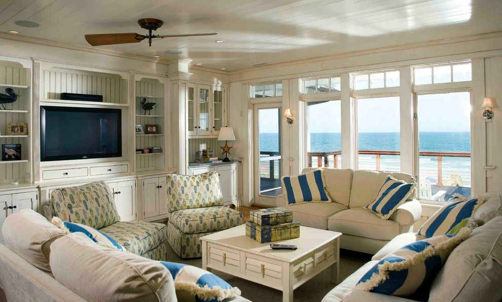 Built in Tv Cabinets Living Room Beach with Beach Living Blue And ...