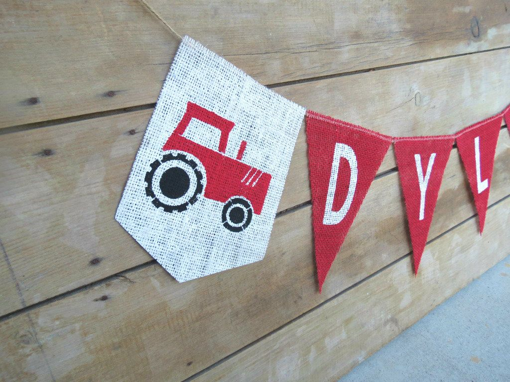 tractor farm birthday banner name banner burlap banner cody s