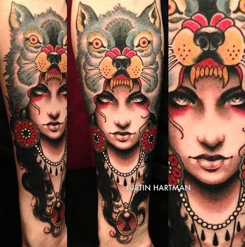 The Girl S Eyes In This Haunting Striking I Almost Skimmed Past This And The Eyes Pulled Me Back Ink Women Pinups Headdress Tattoo Tattoos Wolf Girl