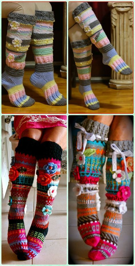 Crochet Knee high Flower Sock Slipper Boots Free Pattern [Video ...