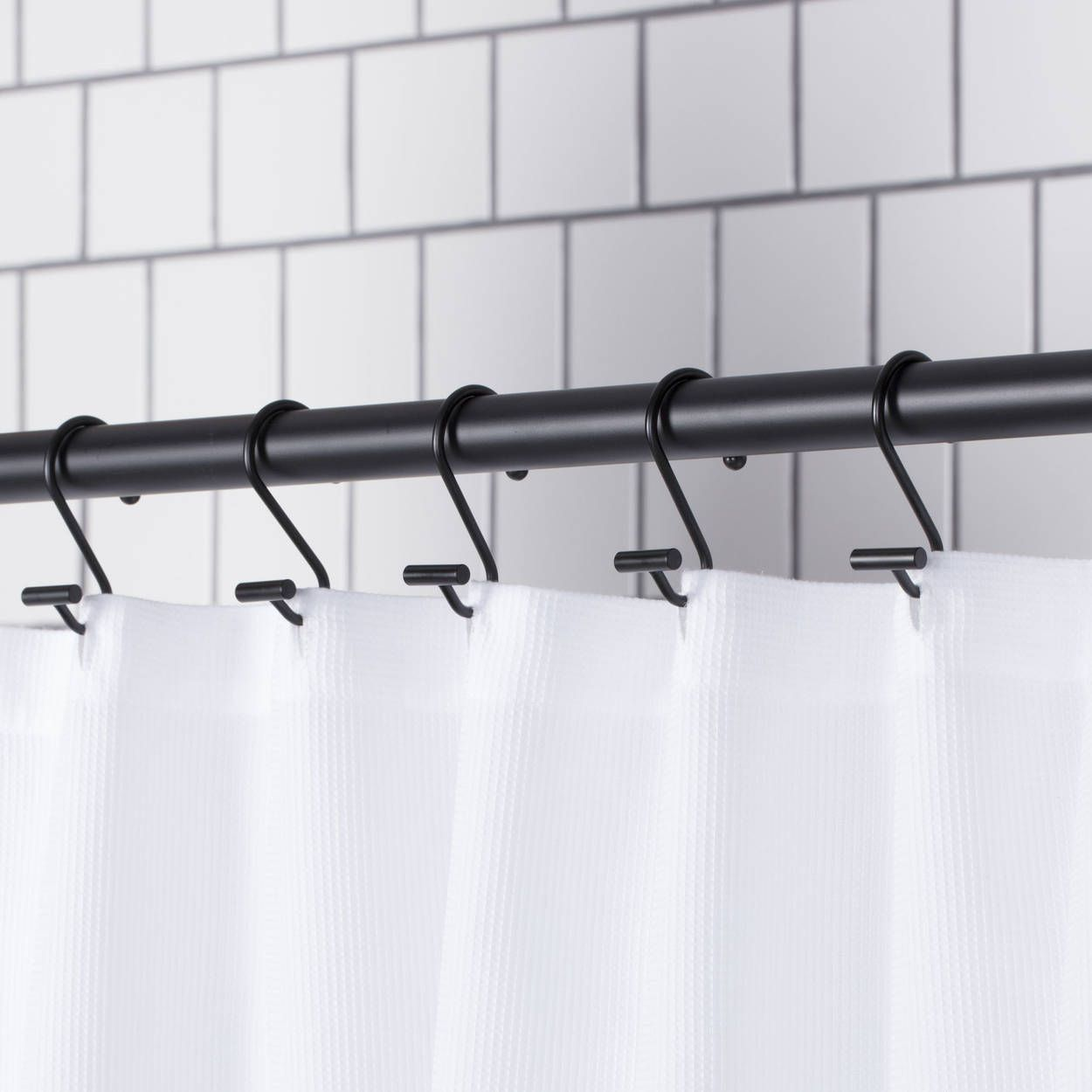 Set Of 12 Shower Curtain Hooks Modern Shower Curtains Black