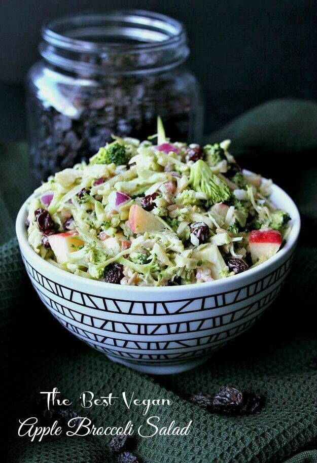 Vegan Apple Broccoli Salad has everyones favorite vegetables and fruits You throw everything in a bowl then pour on the slightly sweet and tangy dressing Toss and eat