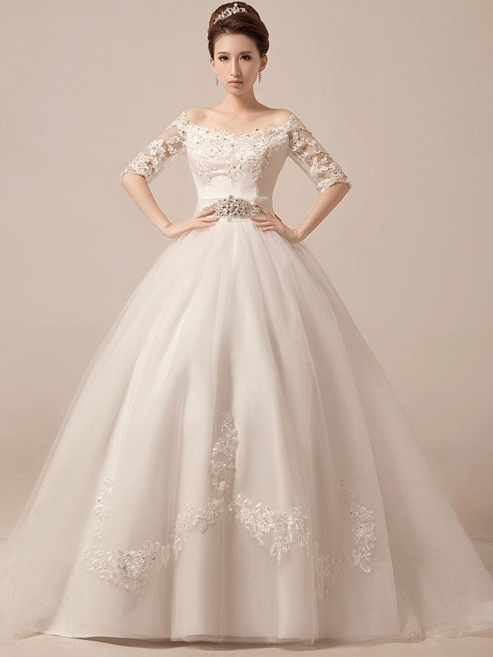 311075586f21 Off Shoulder Ball Gown Wedding Dress Debutante Ball Gown with Sleeves