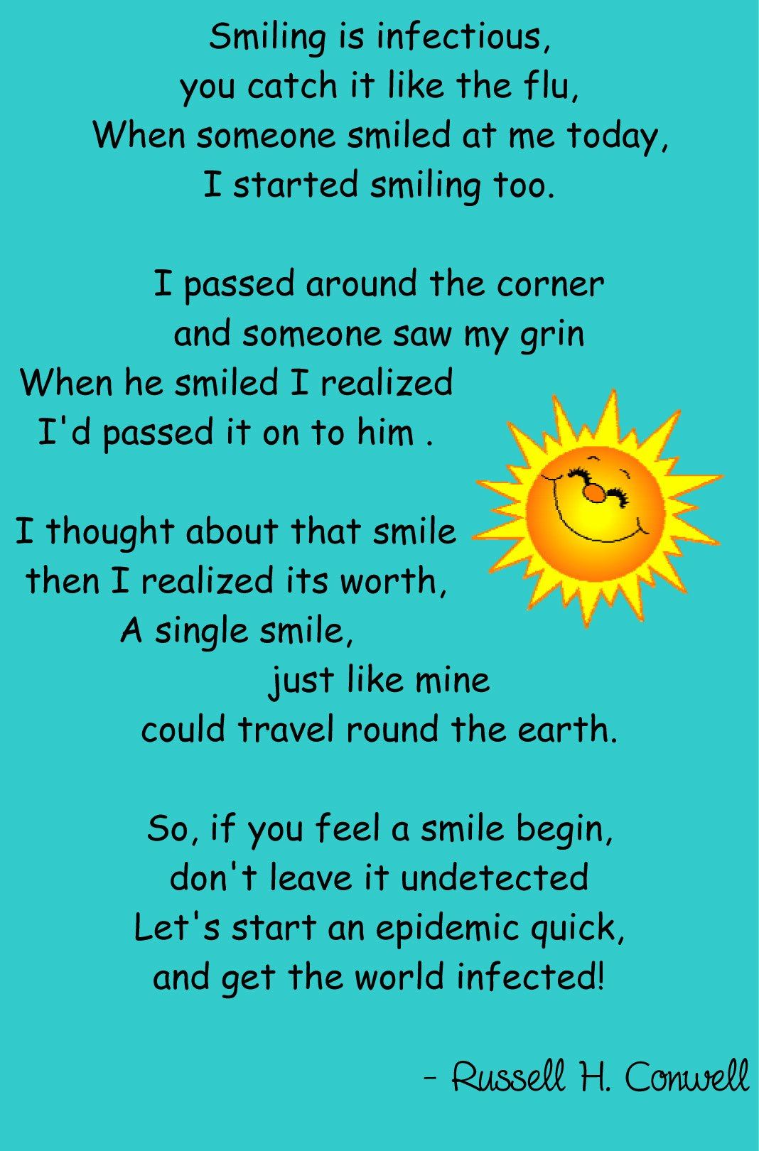 Smile poems and quotes - Smiling Is Infectious