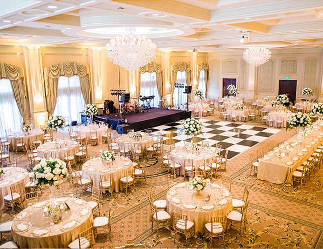 21 Elegant Ideas For A Ballroom Wedding Inspired By This Wedding Hall Decorations Elegant Wedding Venues Elegant Wedding Reception