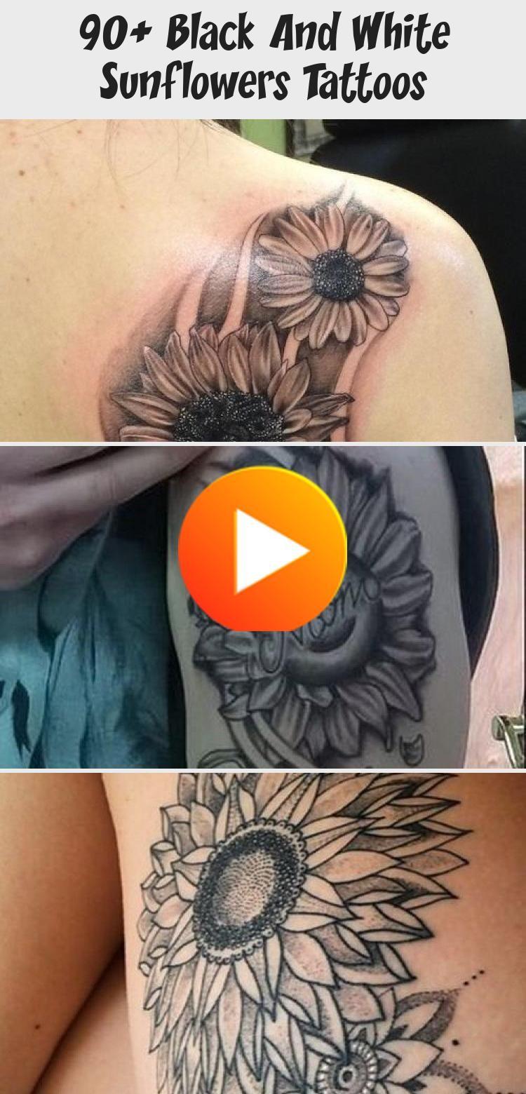 90+ Black And White Sunflowers Tattoos - Tattoos