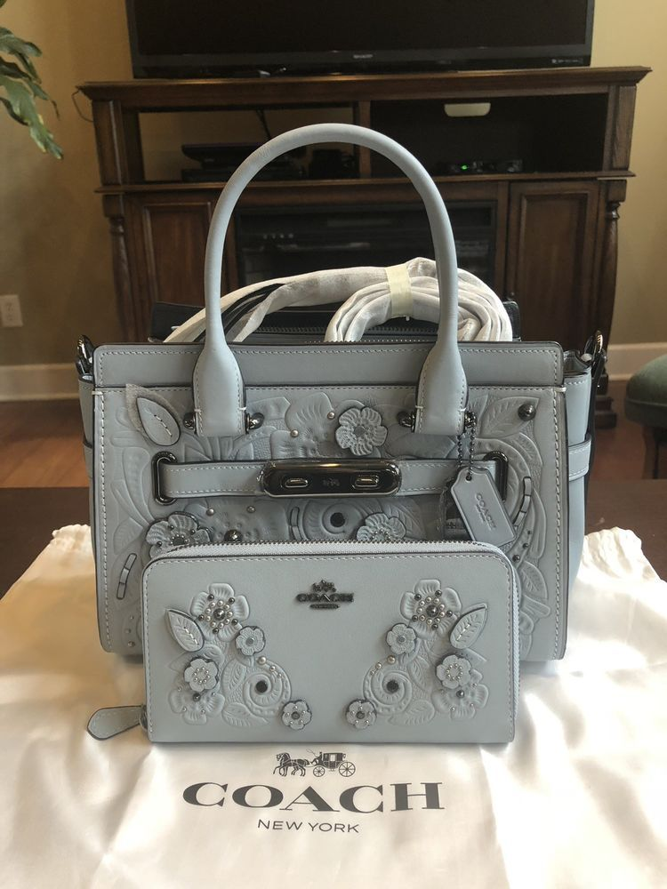 eec1c54778e NWT COACH SWAGGER 27 PALE BLUE LEATHER TEA ROSE TOOLING 11854 AND WALLET  12039