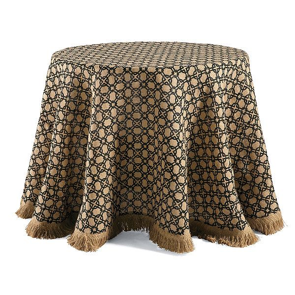 Geometric Burlap Round Tablecloth