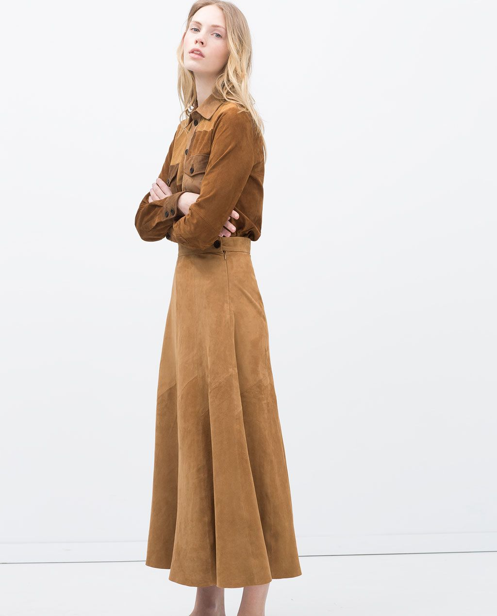 LONG SUEDE SKIRT-View all-Skirts-WOMAN | ZARA United States ...