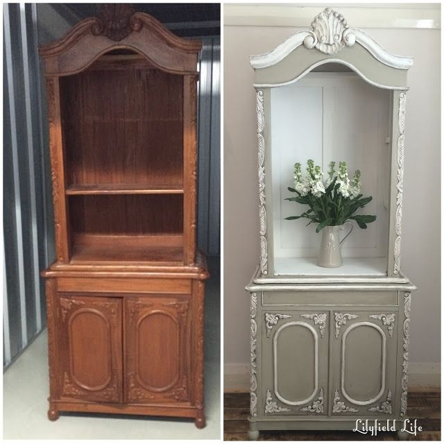 before and after hand painted french style cabinet. Black Bedroom Furniture Sets. Home Design Ideas