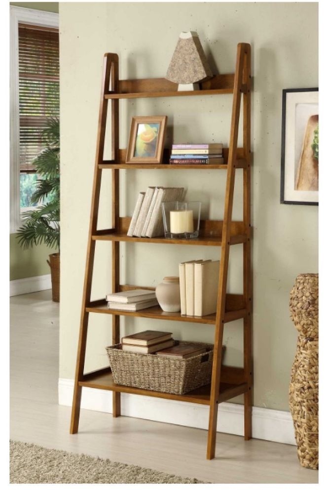 Leaning Bookcase Ladder Style 5 Shelf Wood Home Decor Storage Open Shelves New Simple Bookshelf Bookshelves Diy Bookshelf Decor