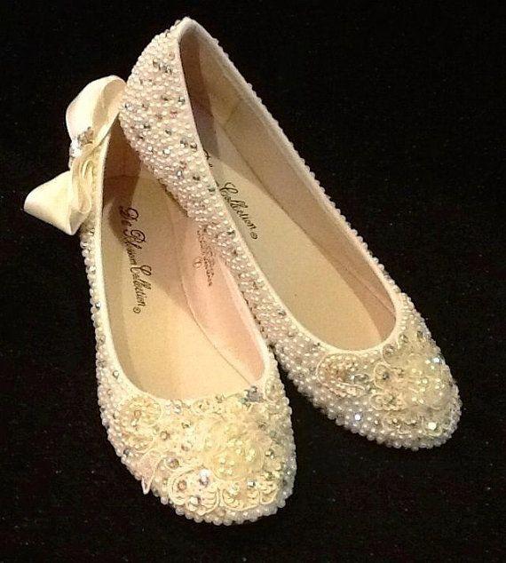 Wedding Shoes Bridal Flats Beaded Rhinestones Hand