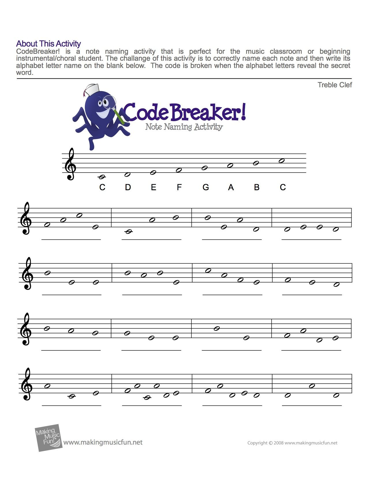 Treble Clef Fun Note Reading With Images Music Theory