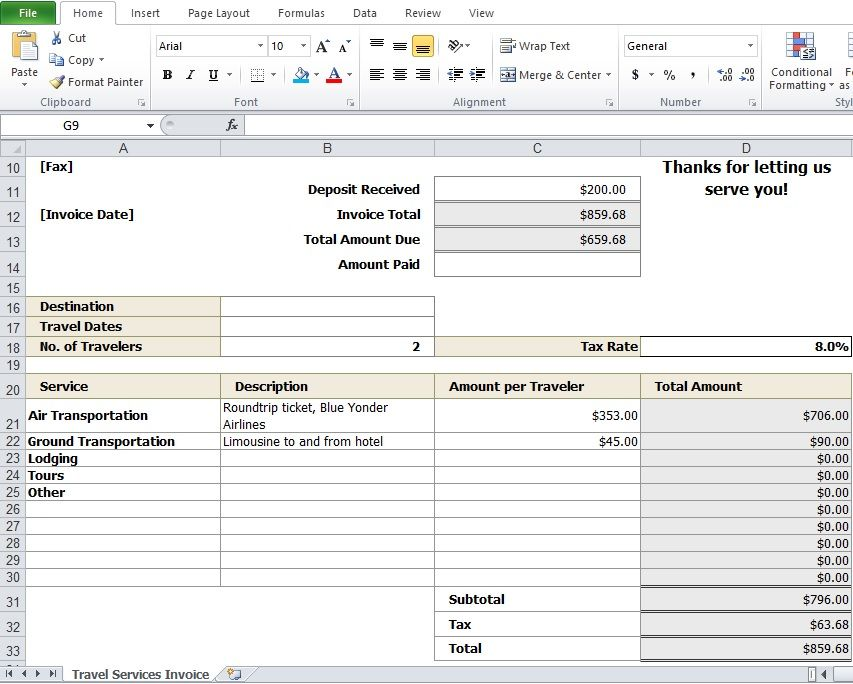 Travel-Agency-Invoice-Format-Exceljpg 853×684 pixels Travel - how to make an invoice on excel