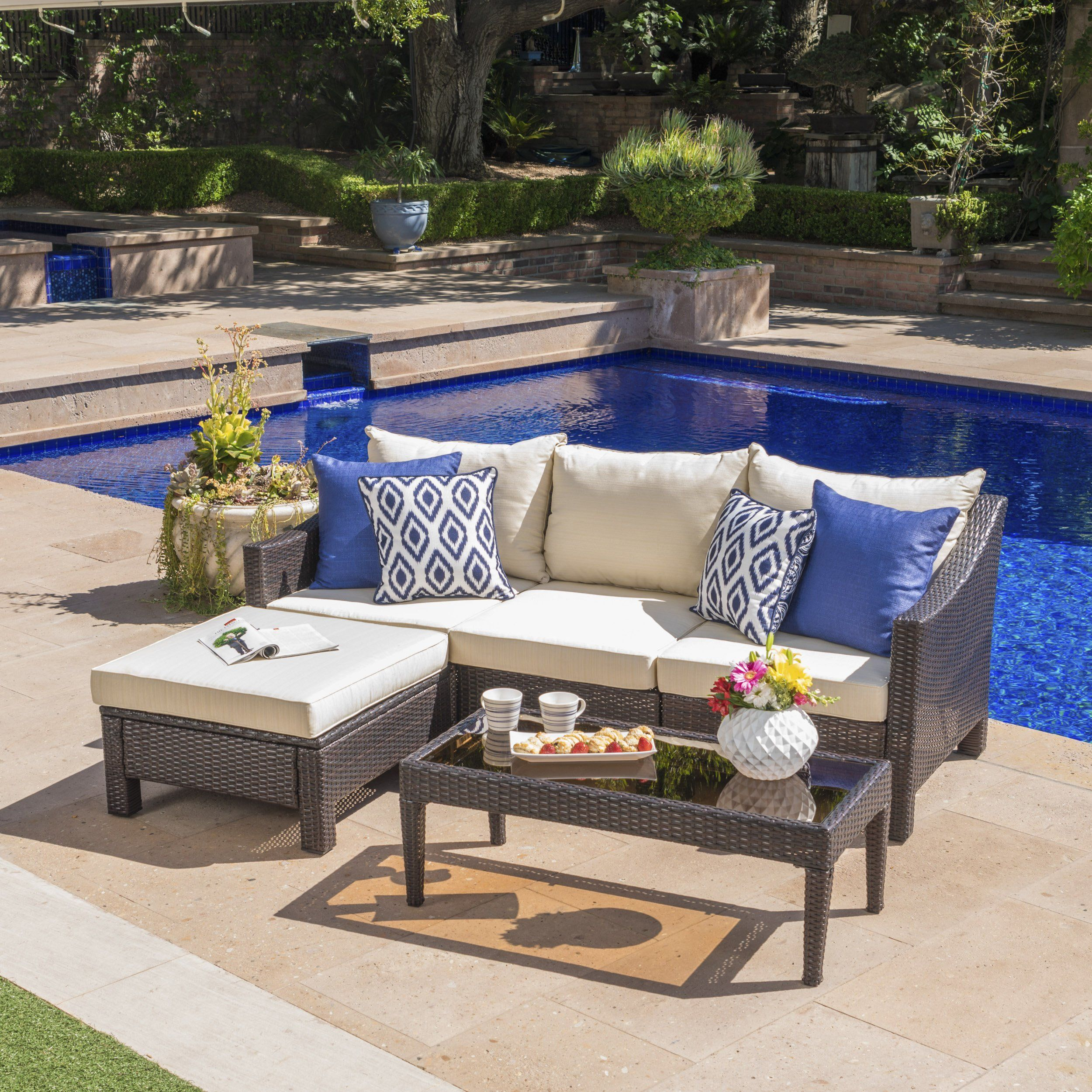 Best Caspian Outdoor L Shaped Wicker Sectional Sofa Set With 400 x 300