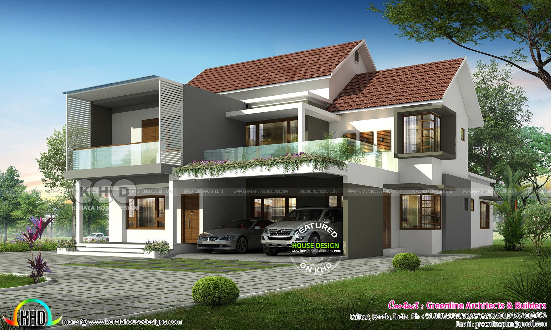 5 Bedroom Modern Mixed Roof Home In 2020 Kerala House