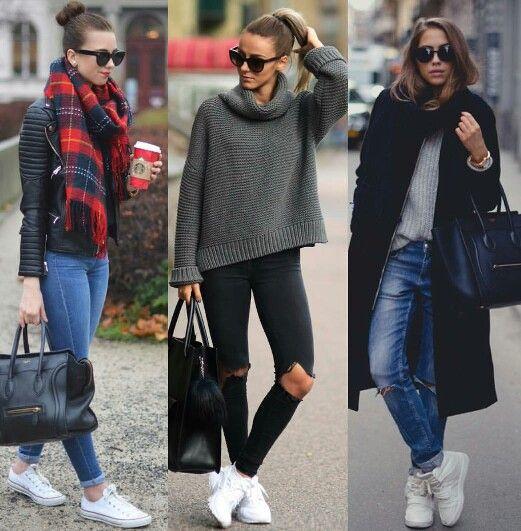 White sneakers in winter! | Höstmode