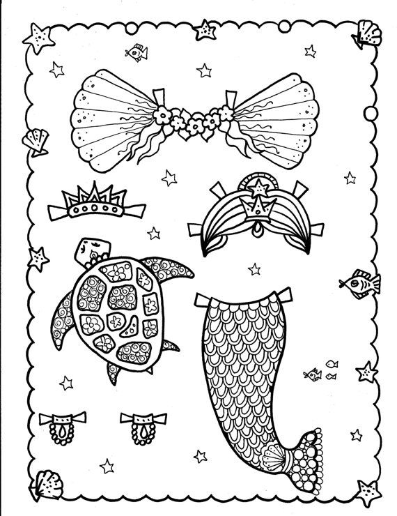 MERmaiD Paper Doll 5 pages to color and cut and play | Mermaid and Dolls