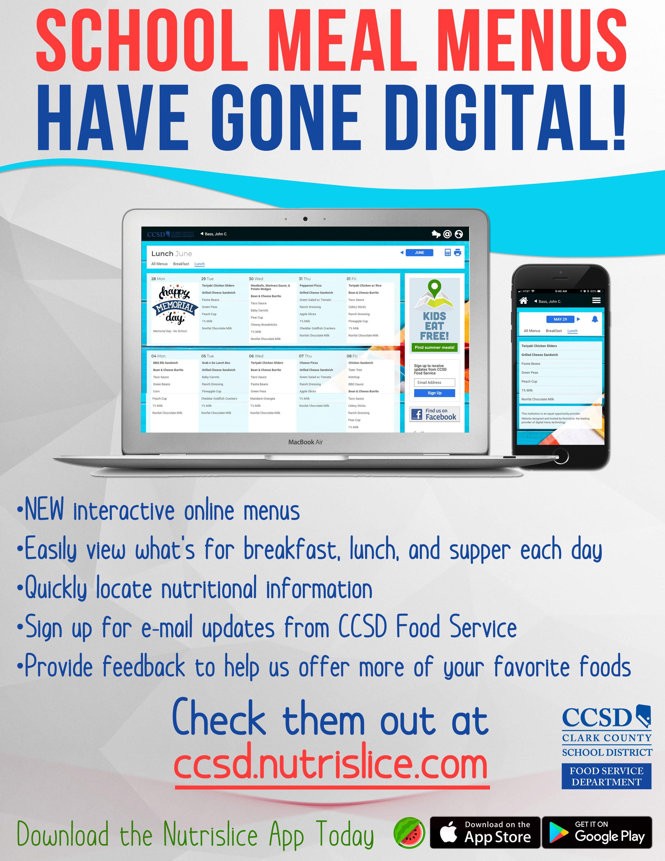 Ccsd digital menus kids eat free digital menu school food