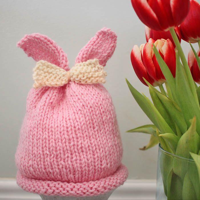Baby Girl Bunny Ear Hat Free Knitting Pattern | Hats for kids ...