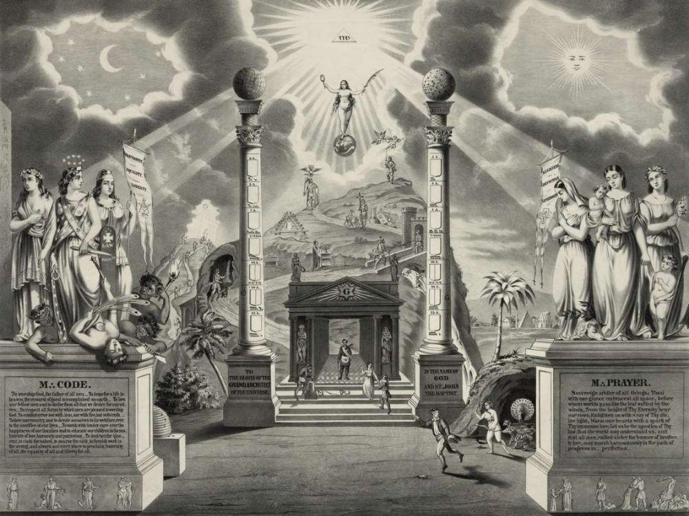 Masonic Columns Print masonic poster freemason artwork ring