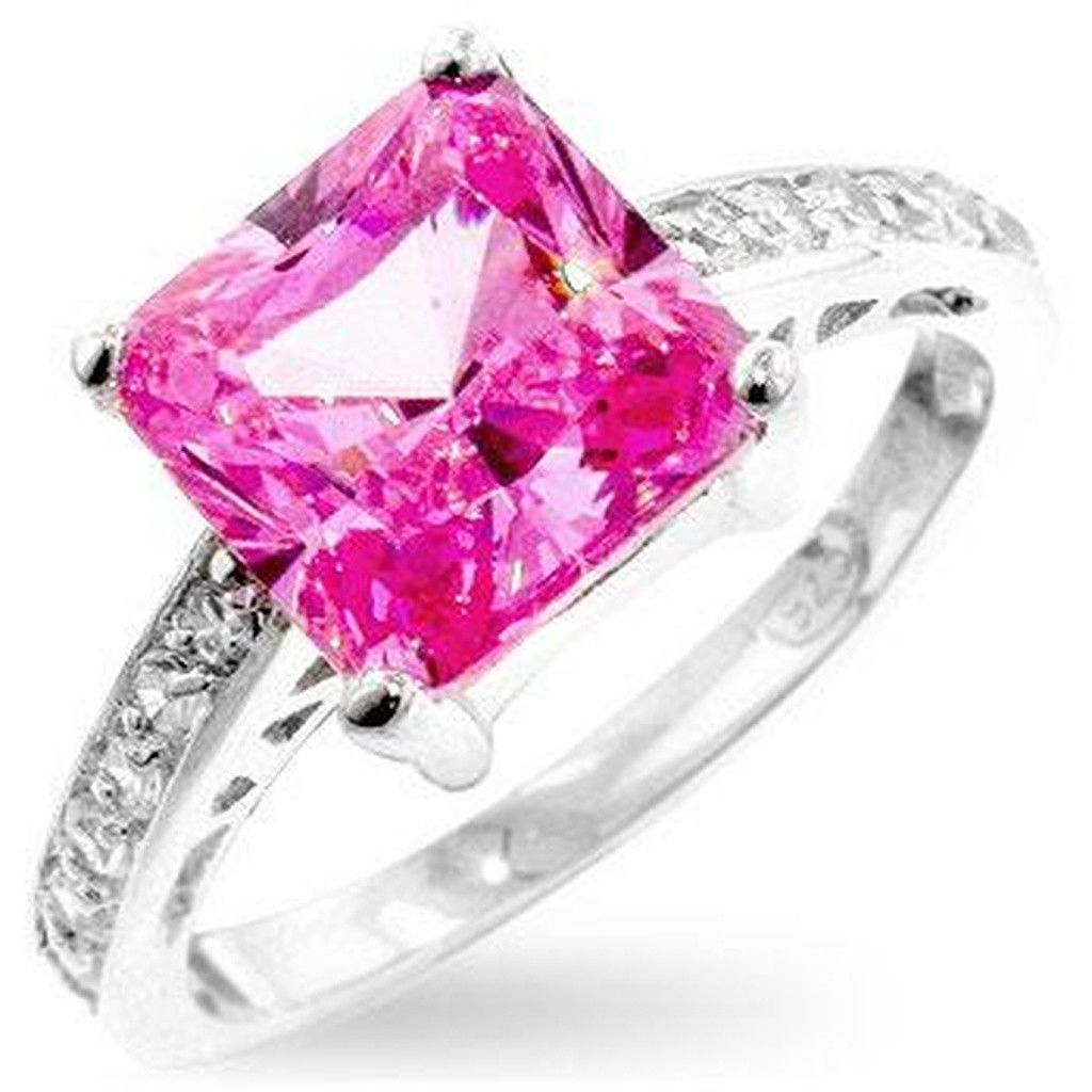 HOT PINK//FUSCHIA CZs HEART COCKTAIL RING .925 STERLING SILVER SIZE 6,7,8,9