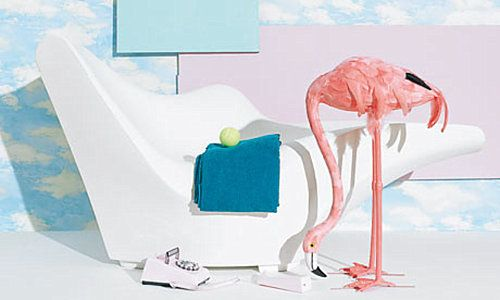 80's Dream Pastel Flamingo Interior