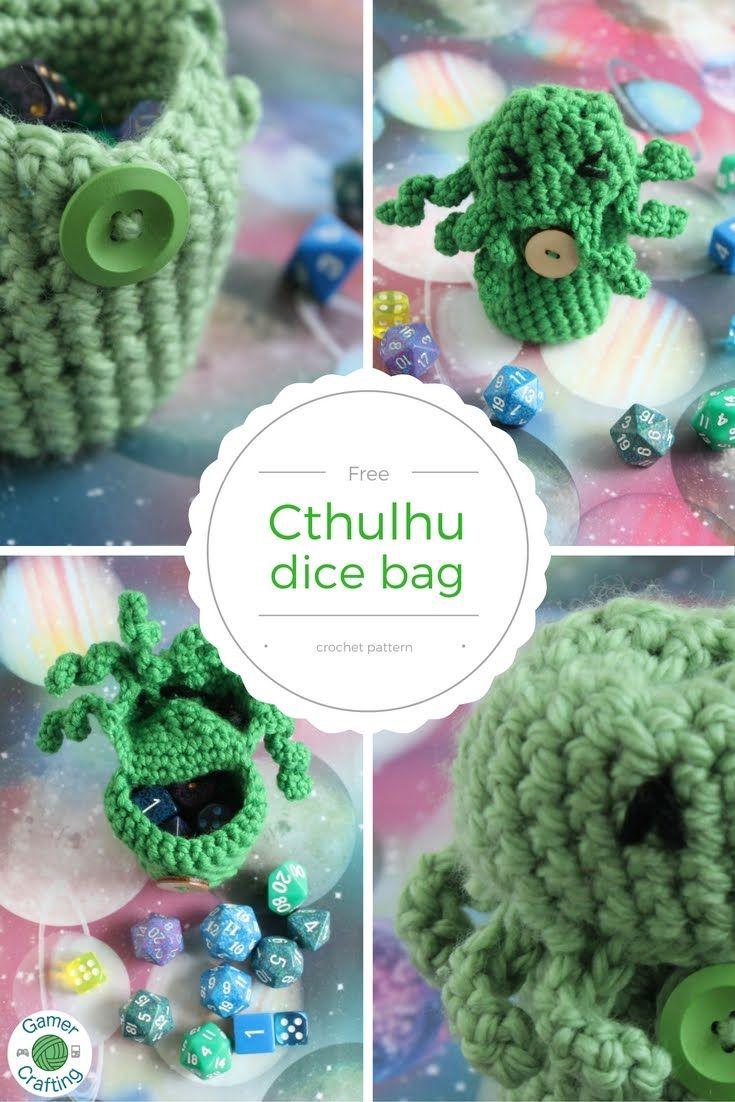 Free Cthulhu dice bag crochet pattern