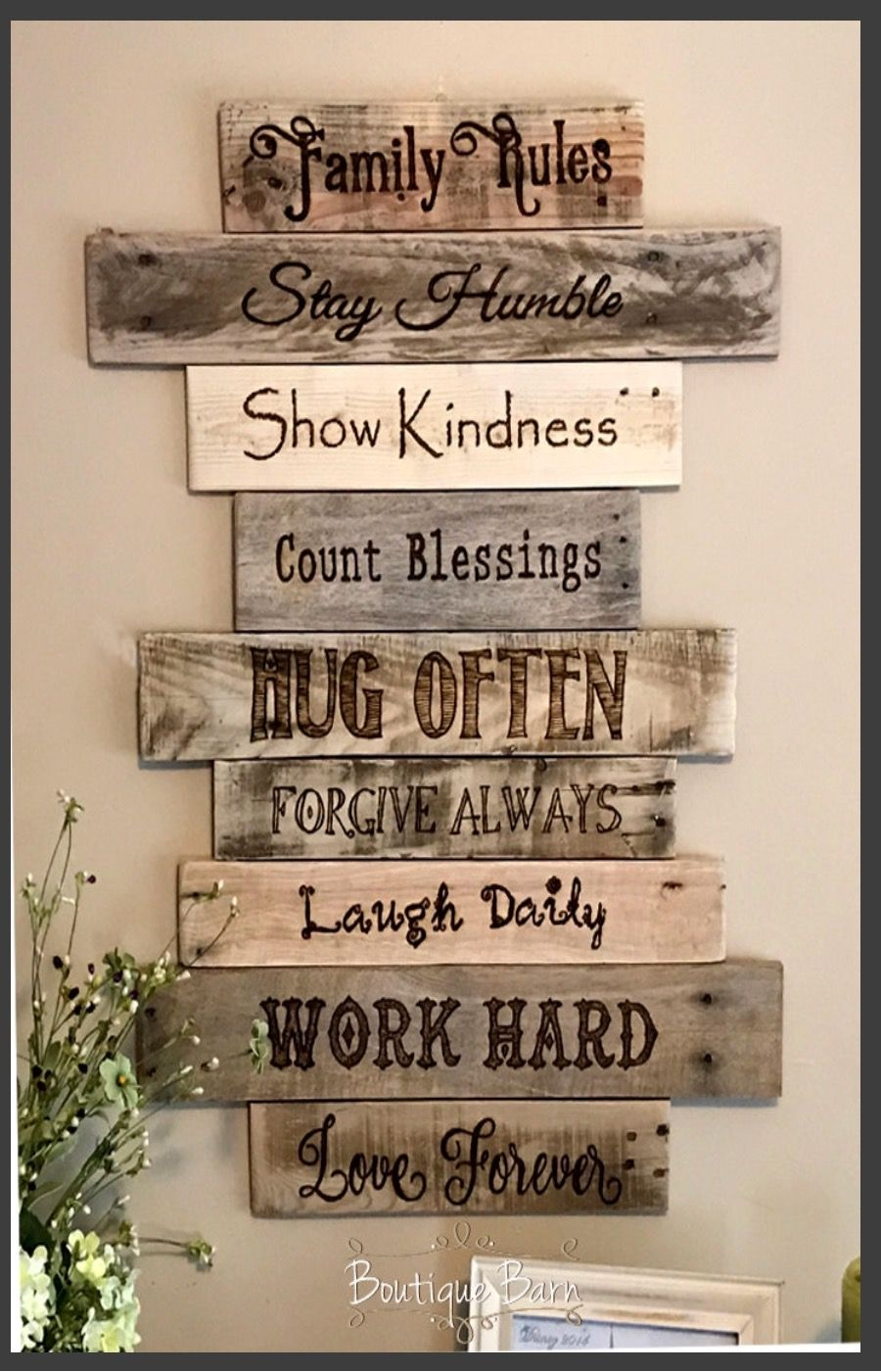 Family Rules Sign Wood Wall Decor Farmhouse Country Home Handmade Rustic Reclaimed Gift Housewarming Ad