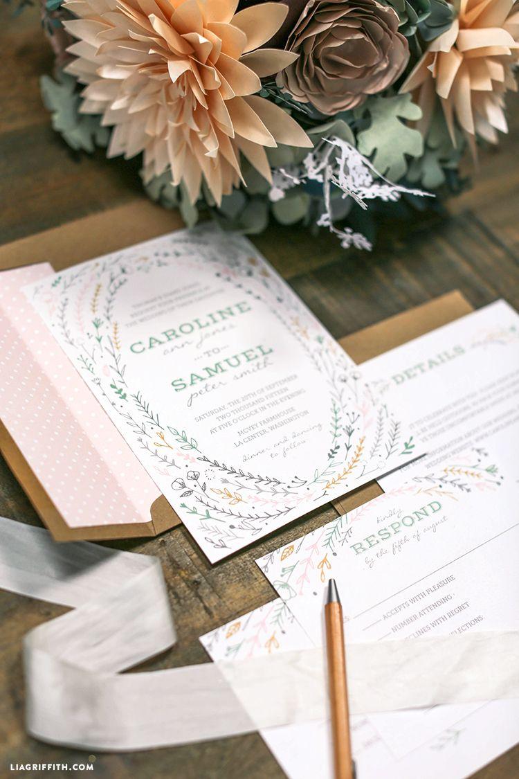 Printable rustic wedding invitations diy paper weddings and