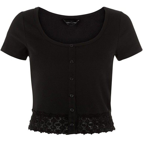 Black Ribbed Lace Hem Crop Cardigan ($6.26) ❤ liked on Polyvore ...