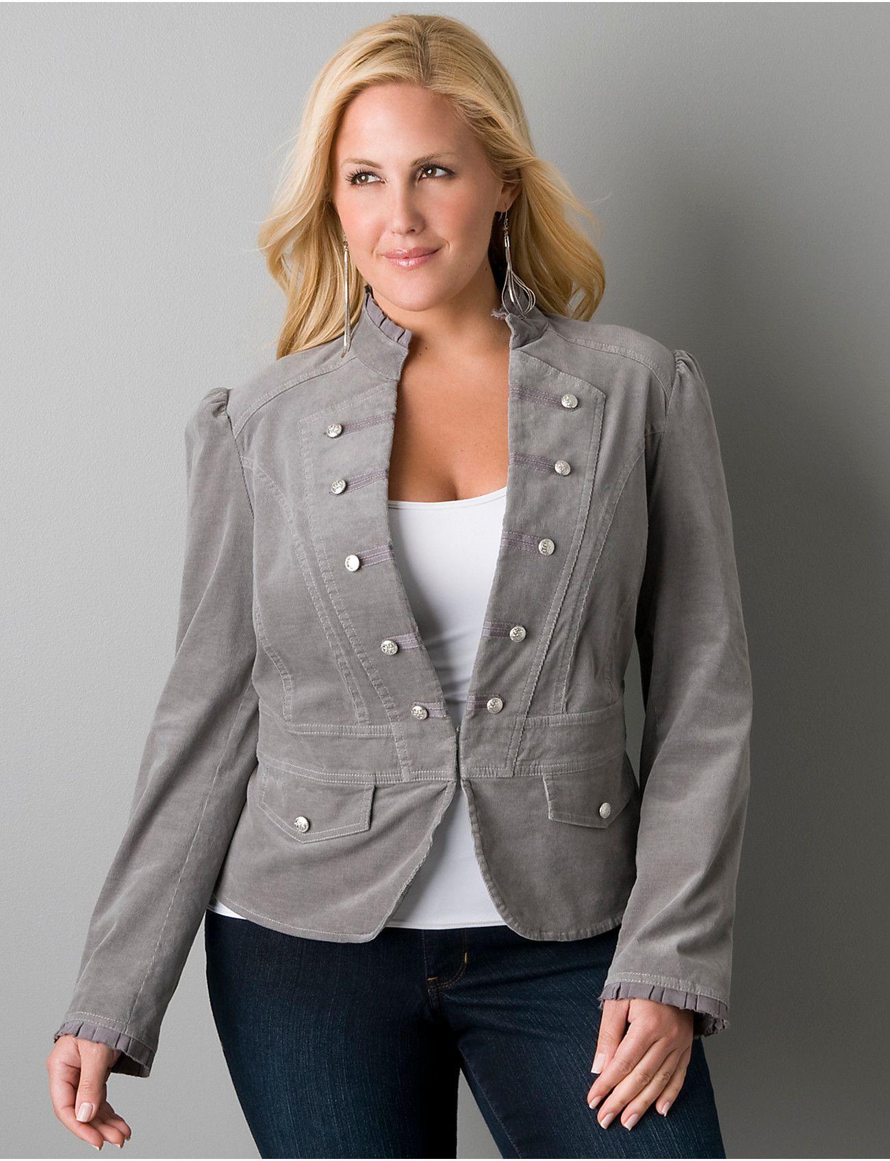 Corduroy Military Jacket Plus Size Fashion Full Figure Fashion Military Style Jacket Womens [ 1696 x 1300 Pixel ]