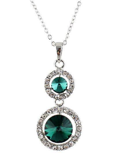Collar cadena plateado diamante piedra-Sheinside