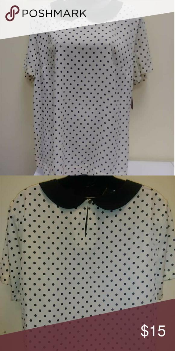 Merona XXL White with Black Polka Dots blouse Merona White With Tiny