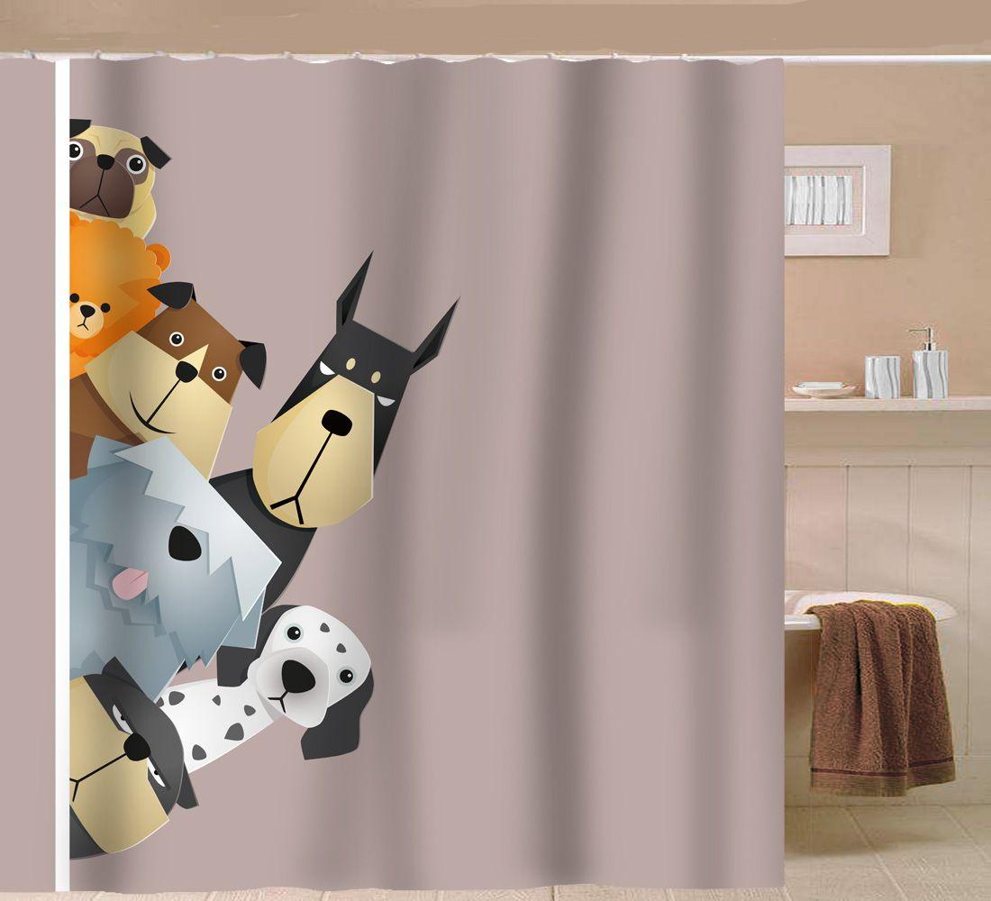 Sunlit Peekaboo Cartoon Fabric Showercurtain Sunlit Showercurtain