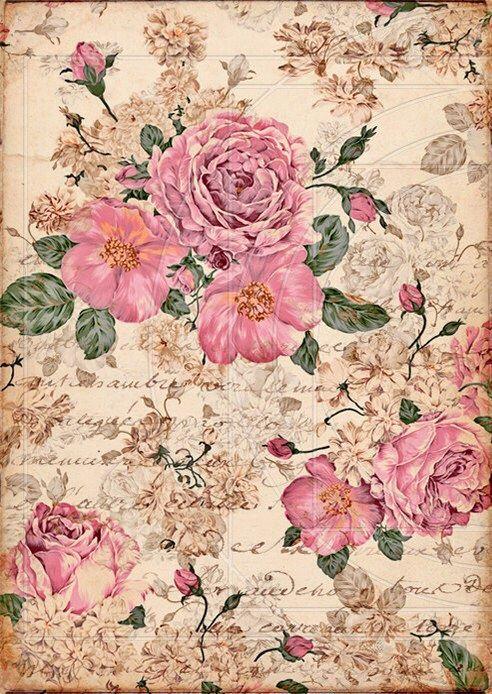 Roses-r0991 Papier de riz-Motif Paille soie-Decoupage-Vintage-Shabby