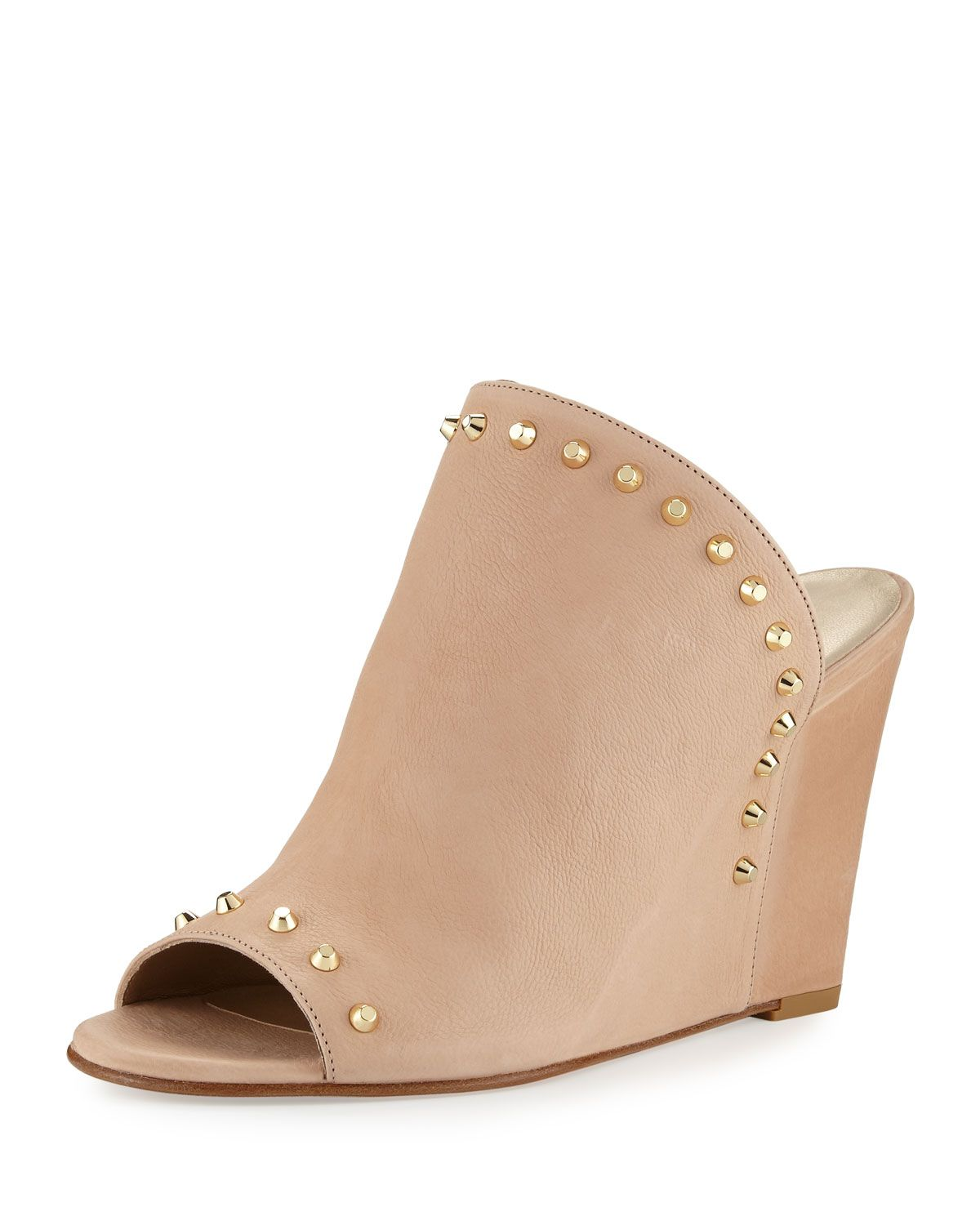 Upfrontal Studded Leather Wedge Slide Sandal, Nude, Women's, Size: 35B/5B - Stuart Weitzman