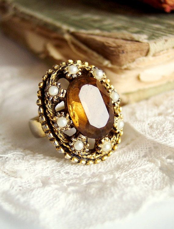 Judith - Large Ornate Renaissance Revival Adjustable Rhinestone Ring with a Smoky Brown Stone and Faux Pearls