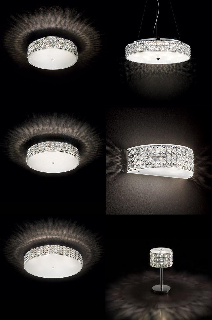 Ideal Lux Runde Kristall Deckenleuchte Roma Kristall Deckenleuchte Moderne Beleuchtung Kristalle